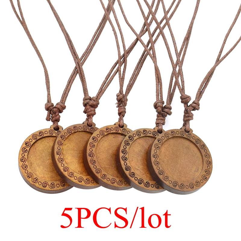 5PCS/lot Diy Wood Pendant Trays Base Fit 25mm Glass Cabochon Setting Blank Necklace Handmade Jewelry Making Supplies