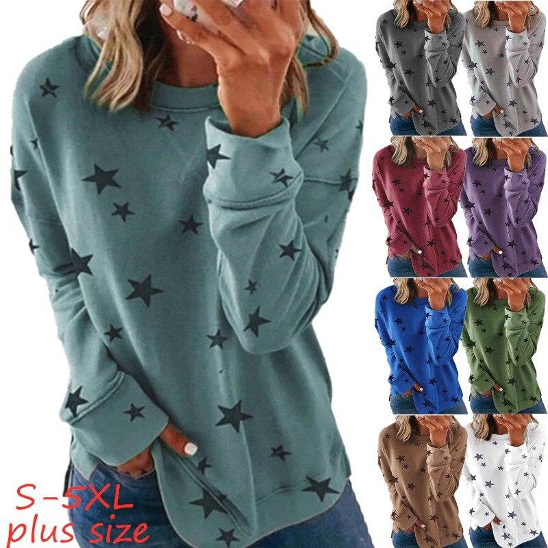 Новый осень-зима размера плюс одежда Женская Повседневная однотонная Цвет рубашки для мальчиков топы с круглым вырезом, принт со звездой, с...