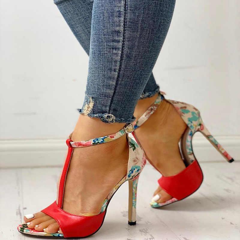 Kadın sandalet T-bağlı yüksek topuklu kadın roma ayakkabı kadın baskı kadın Peep Toe rahat bayanlar ayakkabı yaz yeni artı boyutu