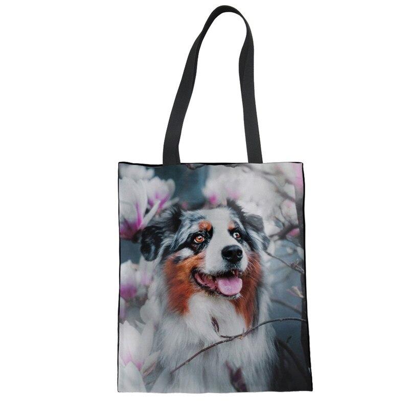 3D New Fashion Women Girls Bags Australian Shepherd Dog Printing Foldable Shopping Bag Women PU Tote Bag Ladies Shoulder Shopper Bag Bolsa De Tela Drop Shipping Custom Your Image