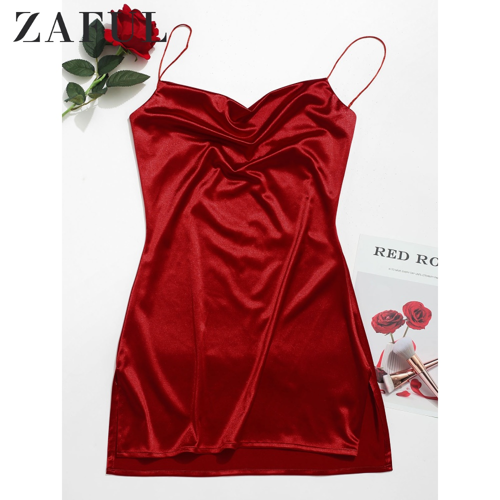ZAFUL Side Slit Satin A Line Cami Dress Camisole Solid Flare Spaghetti Strap Dress Satin Dress Party Brief Mini Women'S Dresses