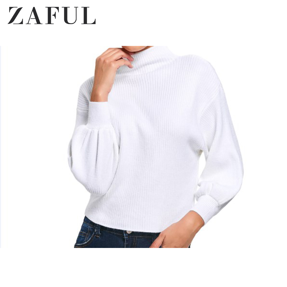 ZAFUL O-Neck Solid Color Lantern Pullover Sweater Woman Autumn Winter Long Sleeve Ropa Mujer Invierno 2019 Robe Pull Femme Hiver