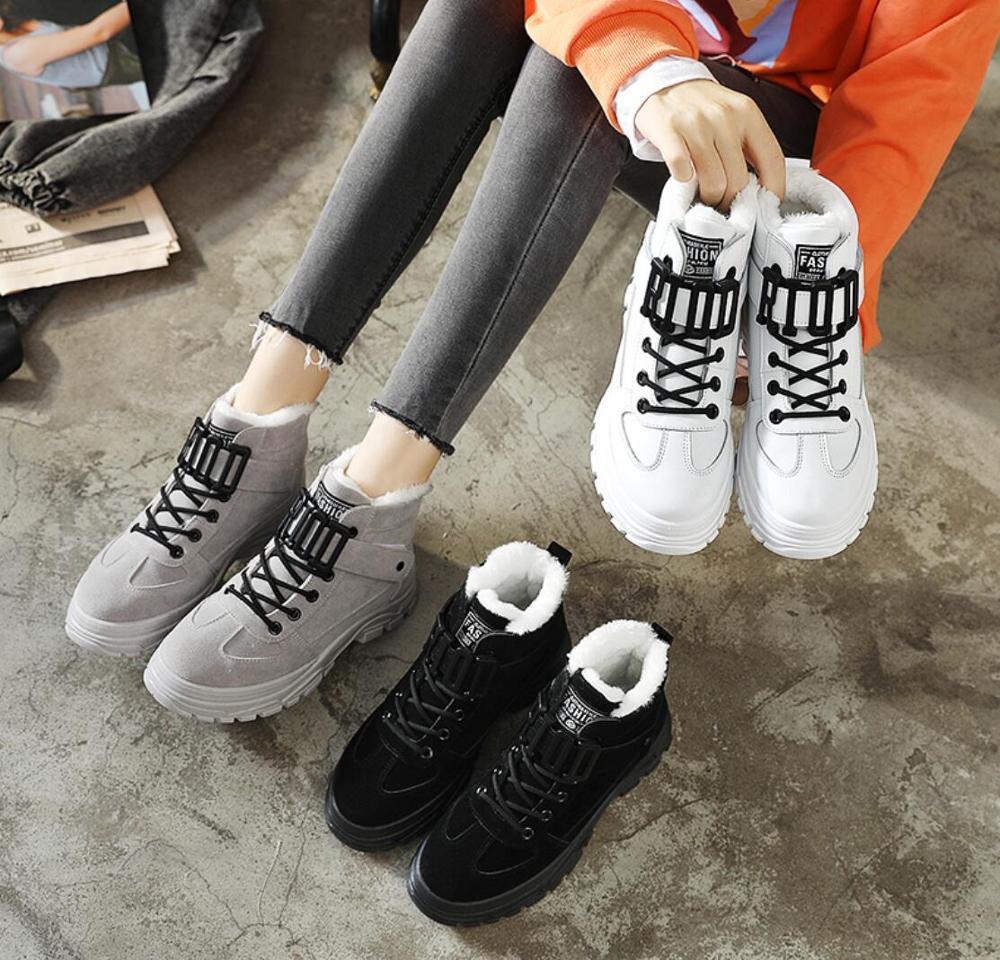 2020 Women Warming Boots Lace Outdoor Winter Plush Casual Shoes wear Female Snow Boots Footwear zapotos