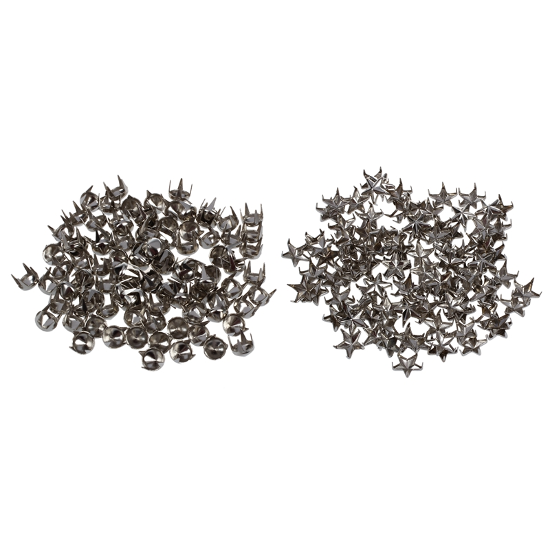 200 Pcs Silver Rivets For Bag Shoes Bracelet: 100 Pcs Pyramids Rivets Gothic Punk Rivets & 100 Pcs 7Mm Star Studs Spots Punk Roc