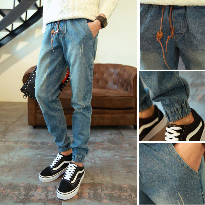 Autumn & Winter Versatile Beam Leg Jeans Trend Loose-Fit Social Fella Online Celebrity Workwear Pants Men's Harem Athletic Pants
