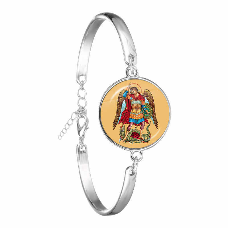 1pcs 18mm Glass Cabochon Bracelete Archangel St.Michael Protect Me Saint Shield Protection Charm Russian Orhodox Bangle Jewelry