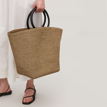 Solid Large Capacity Straw Bags Women Handbags Bohemian Summer Beach For Lady Totes Handmade Rattan Female Travel Purses