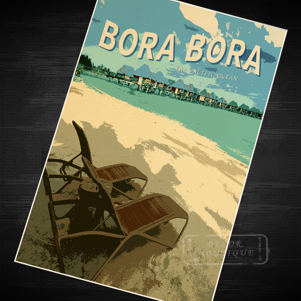 Bora bora o oceano pacífico tahiti vintage retro vintage kraft poster lona diy adesivo de parede barra casa cartazes decoração