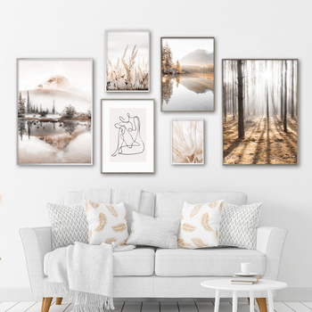 Mountain Lake Reed Forest Abstract Girl Art Canvas Painting Nordic Posters And Prints Autumn Wall Pictures For Living Room Decor image