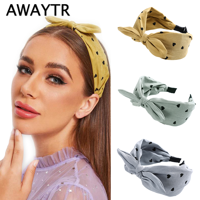 AWAYTR New Cute Knot  Rabbit Ear Hairband For Women Headband Wide Hair Loop  Bezel Headwear Girls Hair Accessories