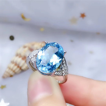 LeeChee Natrual Blue Topaz Ring for Women Anniversary Gift 10*14MM Birthstone Fine Jewelry Real 925 Sterling Silver Free Ship