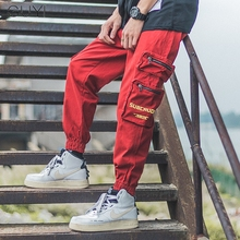 Red Men's Streetwear Joggers Cargo Pants Hip Hop Letter Pock