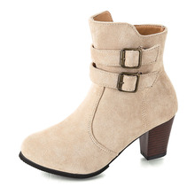 COZULMA Women Autumn Flock Ankle Boots Mid Heel Shoes Lady Fashion Buckle Boots Female Booties Plus Size 35-43