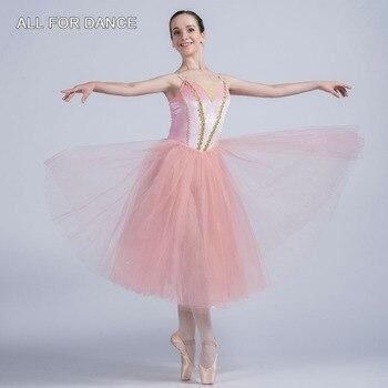 All For Dance Pink Velvet Top Bodice 360° Tulle Ballet Dress For Ballet Girls&Women Show Ballet Performance Wear