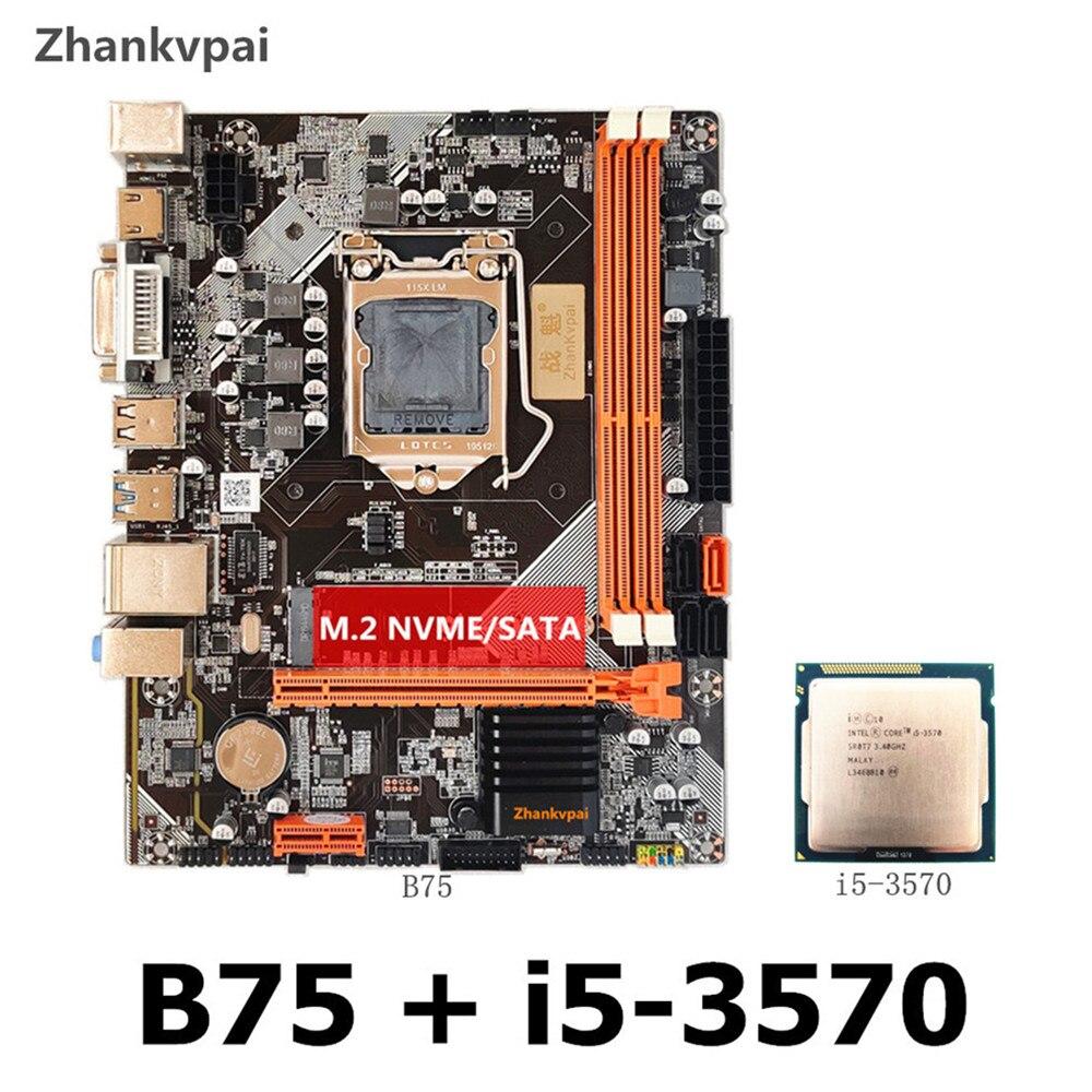 Nova b75 lga1155 ddr3 placa mãe + intel core quad core i5 3570CPU núcleo integrado exibição principal freqüência 3.4ghz placa mãe kit|Placas-mães|   - AliExpress