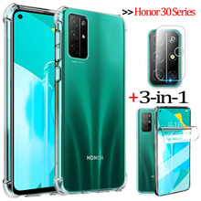 3-in-1 hydrogel film+cases for honor 30s huawei honor 30pro+ soft clear shockproof phone cover honor30 pro plus case honor 30 s