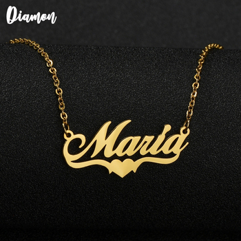 Diamon  2020 New Heart with Personalized Name Necklaces for Women Nameplate Jewelry Stainless Steel Custom Letter Necklace Gift