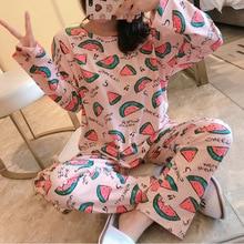 Cotton Sleep Lounge Pajamas Sets for Women Fashion Autumn Pr