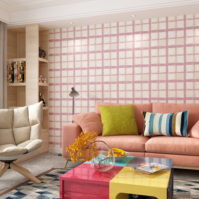 Modern Minimalist Pink Plaid Self-Adhesive Non-Woven Wallpaper Girl's Dormitory Self-adhesive Living Room Bedroom TV Background