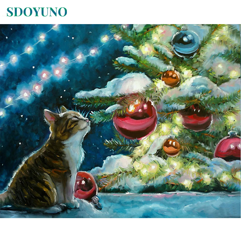 SDOYUNO 60X75cm Acrylic Painting By Numbers Cat's Christmas On Canvas Animals Wall Art Frameless DIY Paint By Number