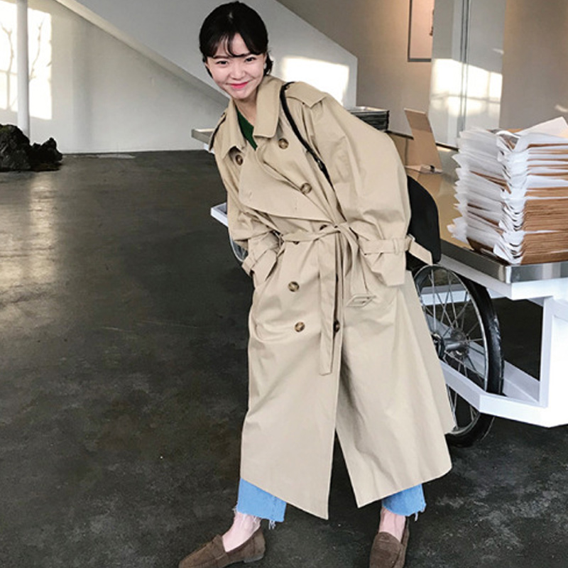 Women Autumn Long Sleeve Double Breasted Long   Trench   Coat Female Pocket Straight Windbreaker Femme Khaki Beige Overcoat