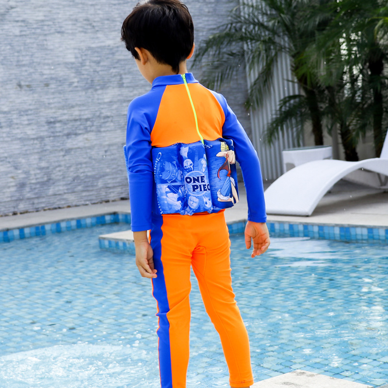Wave Die Yi CHILDREN'S Buoyancy Swimsuit Baby BOY'S Boy BABY'S Bathing Suit One-piece Long Sleeve Floating Bathing Suit
