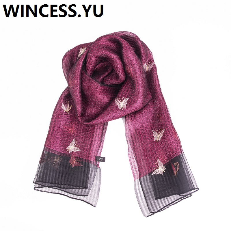 2019 double-deck silk scarf winter autumn women butterfly embroidery scarves and shawls luxury hijab pashmina