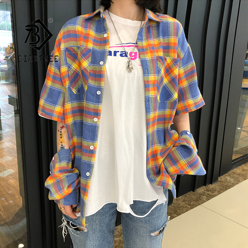 Summer New Women Vintage Rainbow Plaid Shirt Removable Sleeve Batwing Long Sleeve Blouse Harajuku Oversize Top Feminina Blusas