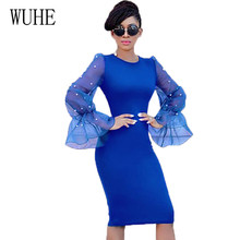 WUHE New Arrival Lady Patchwork Mesh Long Sleeve O Neck Bodycon Sexy 4 Color Party Dress Fashion Slim Beaded Organza Thin