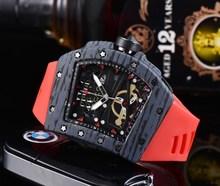 2021 AAA Richard automatyczny zegarek RM męskie zegarki Top marka Mille luksusowy zegarek kwarcowy pasek silikonowy Tonneau kształt T6 tanie tanio LIWO QUARTZ NONE Przycisk ukryte zapięcie CN (pochodzenie) Wolfram stali 10Bar Luxury ru 22mm Skrzyni ładunkowej 15mm