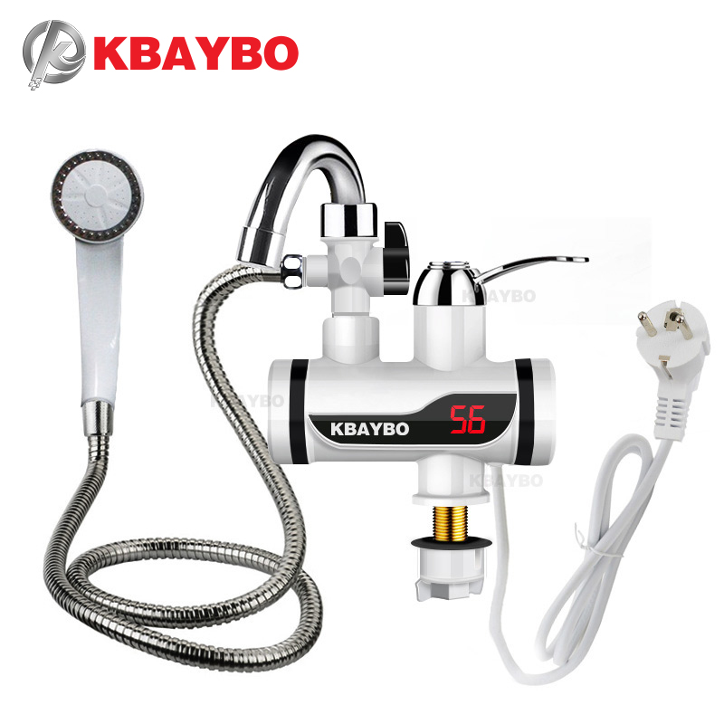 3000W Temperature Display Instant Hot Water Tap Tankless Electric Faucet Kitchen Instant Hot Faucet Water Heater Water Heating(China)
