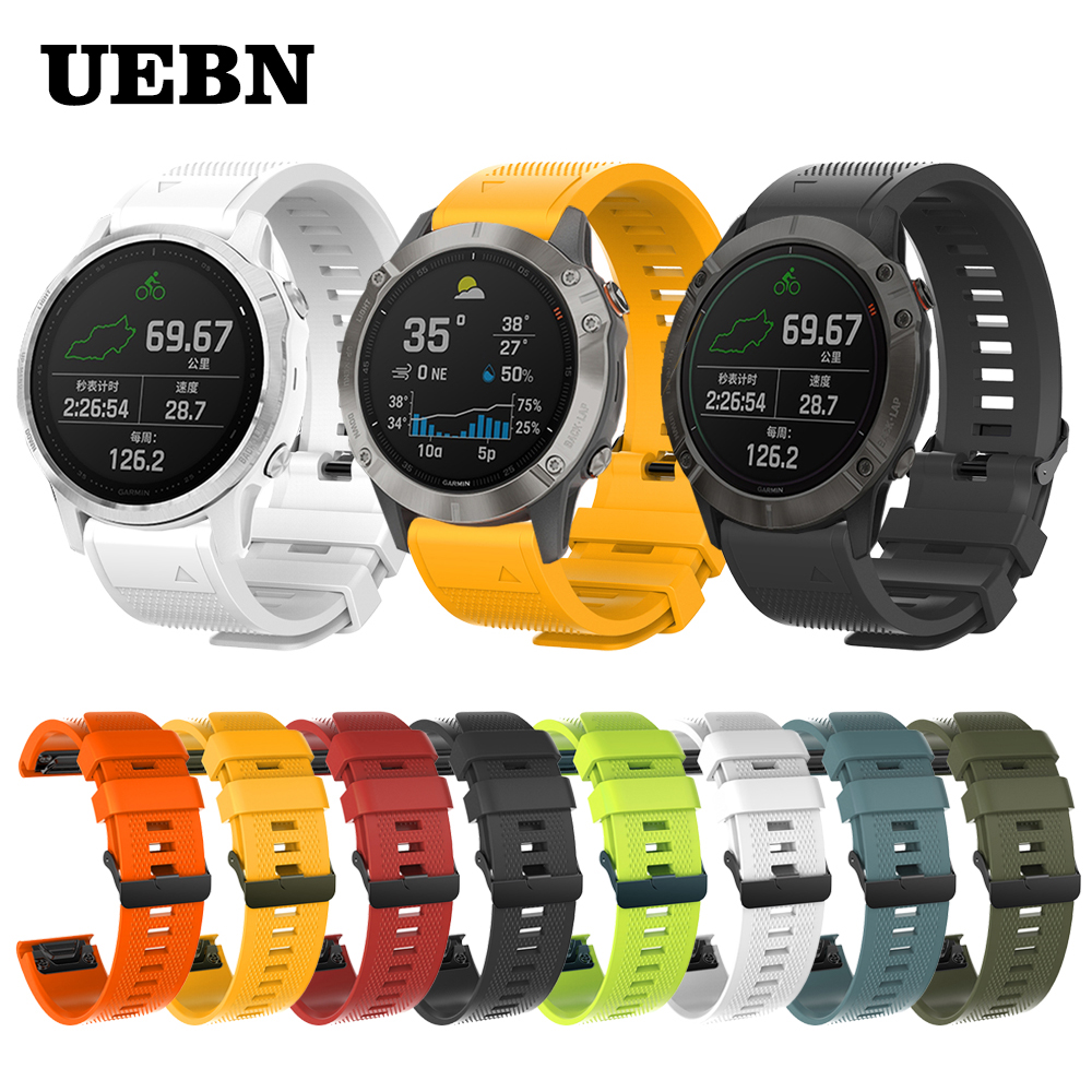UEBN 20mm 22mm 26mm Quick Silicone Band For Garmin Fenix 6 6X 6S /5S 5X 5 Plus 3HR Strap For Forerunner 945 Instinct Watchband