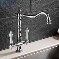 Dual Griff Becken Küche Waschbecken Wasserhahn Antike Messing Mischbatterie Swivel 360 Grad Heißes und Kaltes Wasser Küche Waschbecken Mischer tippen
