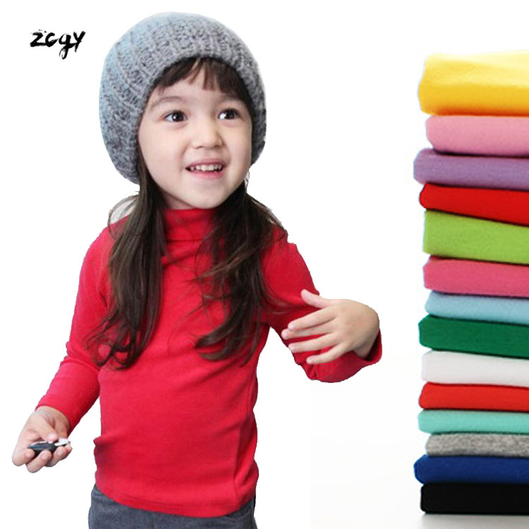 100% Cotton Autumn Girls Basic Shirts Winter Turtleneck Collar T Shirt for 2-11 Years Candy Color Baby Girl Long Sleeve Clothes 1
