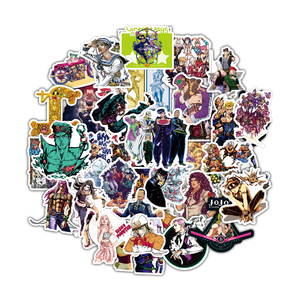 50pcs JoJos Bizzare Adventure Pvc Waterproof Sticker For Luggage Wall Car Laptop Bicycle Motorcycle Notebook Toys Stickers