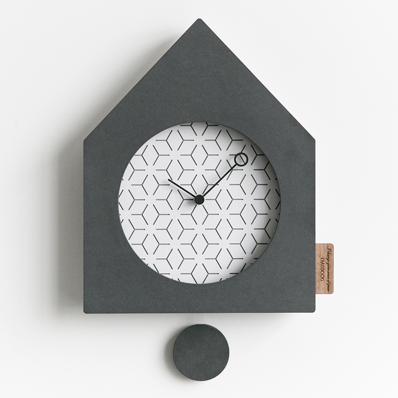 Wooden Wall Clock Modern Design Advanced Living Room Nordic Simple Personality Pine Wood Clocks Swing Wall Watch Home Decor