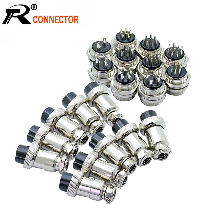 10pcs GX20 Aviation Plug Socket Male/Female 2 <font><b>3</b></font> 4 <font><b>5</b></font> 6 7 8 9 10 12 14Pin 20mm Circular Aviation Socket XLR <font><b>Jack</b></font> Wire Connector image