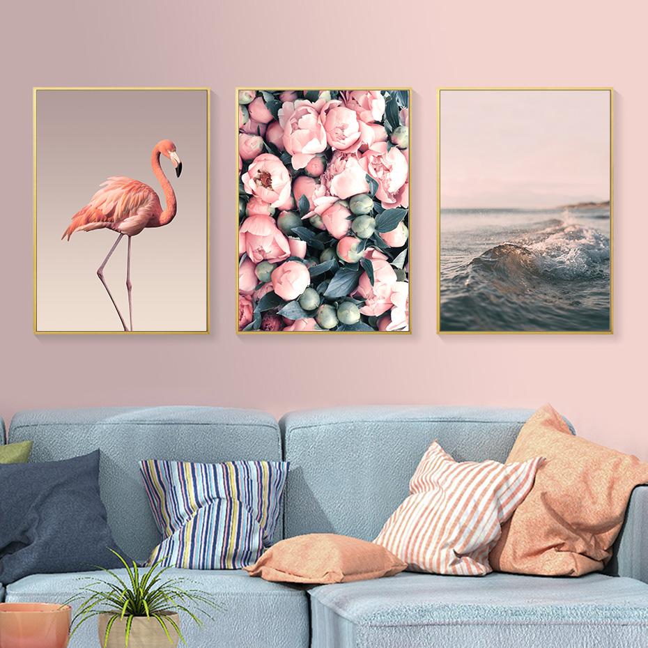 Modern Romantic Pink Peony Flamingo Love Wall Art Wave Scene Pictures Canvas Paintings Nordic Posters Prints Bedroom Home Decor