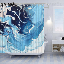 Shower Curtains Marble Abstract Bathroom Striped Ink-Painting Waterproof Luxury Blue-Line