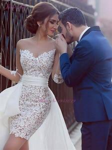 Image 2 - Julia Kui Elegant Lace Of 2 In 1 Mermaid Wedding Dresses Beach With Detachable Skirt Long Sleeve Bride Dress