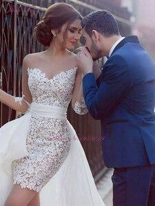 Image 2 - Julia Kui robe de mariée sirène en dentelle 2 en 1, robe de plage avec jupe amovible, manches longues