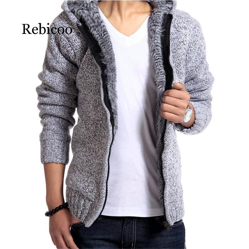 2019 Winter Plus Thick Velvet Men's Knit Cardigan Jacket Big Yards Plus Thick Velvet Hooded Coat Solid Color Tide Men