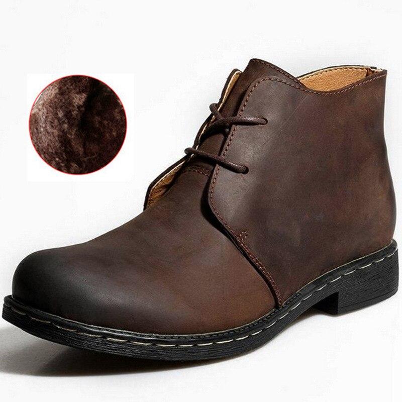 2019 Winter Men Boots Fashion Warm Plush Genuine Leather Cowboy Ankle Boots Men's Casual Shoes Snow Boots