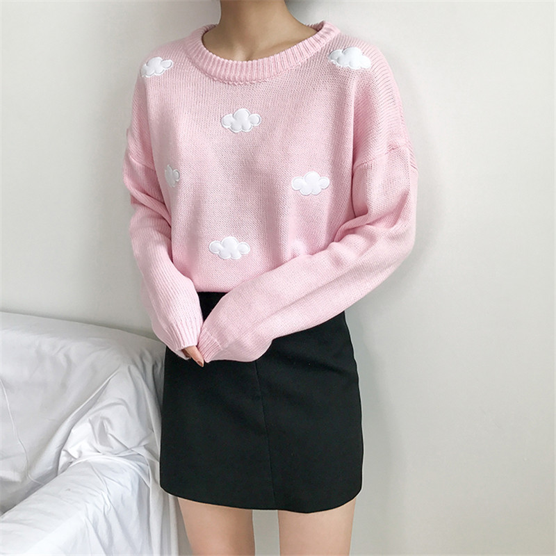 Knitted Sweater Cloud Print Long-sleeved Knit Japanese Harajuku Pullover Women Cute Sweater Ladies Pullover  Kawaii Sweater Top