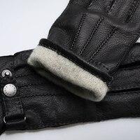 Мужские перчатки,черные теплые зимние перчатки из натуральной кожи с кнопкой 1