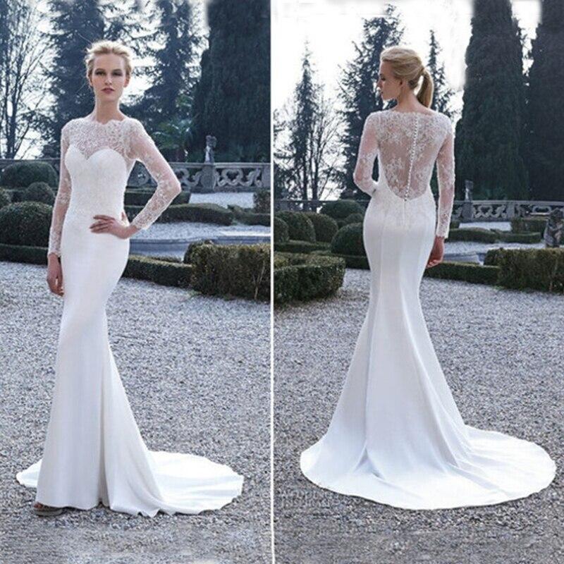 New Stock Elegant Vestido De Noiva 2018 Ivory Long Sleeves Lace Mermaid Robe De Mariage Bridal Gown Mother Of The Bride Dresses