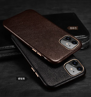 First layer cowhide Business Genuine Leather case cover For Iphone 11 Pro Max Phone Case Electroplated metal button