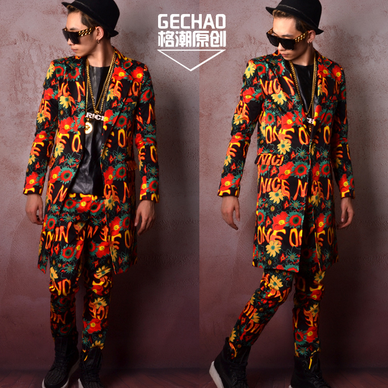 Gorgeous Color Flower Graffiti Style  Men's Long Suit Hairdresser Star Suit Jacket Nightclub Bar Singer DJDS Stage Costume S-6XL
