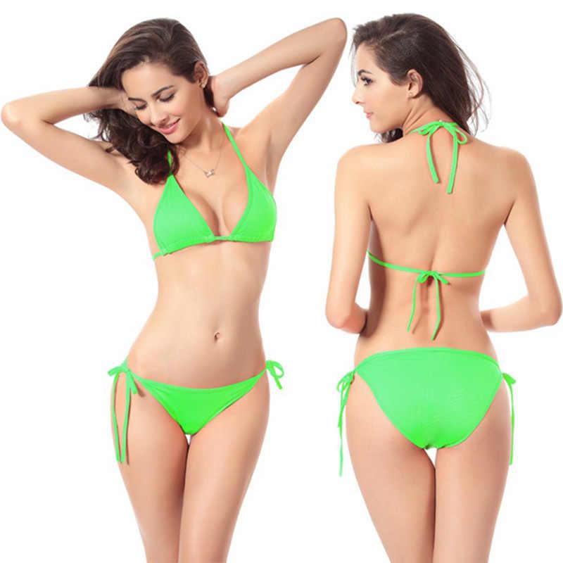 11 ألوان قابل للتعديل مثلث بيكيني بلون المايوه مجموعة البكيني النساء الرسن ملابس السباحة رفع ملابس السباحة Biquini