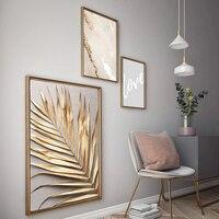 Einfache Kunst Goldenen Palm Blatt Malerei Poster Druck Leinwand Malerei Bild Moderne Hause Wand Kunst Dekoration Benutzerdefinierte